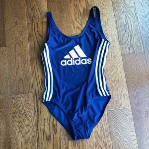 Adidas one piece blue swimsuit open back NWT